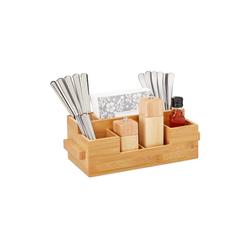 relaxdays Besteckhalter Besteckhalter Bambus mit Serviettenfach