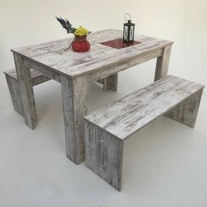 Esstischgruppe Bänke  3er Set  110x70cm  Canyon White Pine Made in Germany