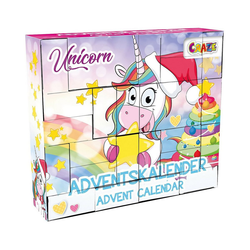 CRAZE Wandkalender DIY Adventskalender Unicorn 33 x 29,5 x 7,6cm