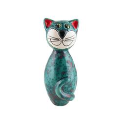 Tangoo Dekoobjekt Tangoo Keramik-Katze MINI türkis Effektglasur mit