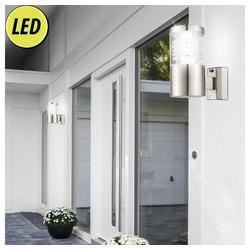 etc-shop Wandleuchte, 2er Set LED Außen Leuchten Fassaden Wand Beleuchtung Edelstahl Strahler Terrassen Beleuchtung
