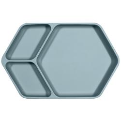 Kindsgut Kindergeschirr-Set Teller eckig (1-tlg), Silikon, Saug-Geschirr aus Silikon, guter Halt und rutschfest dank Saugnapf, frei von BPA und FDA-konform, Aquamarin blau