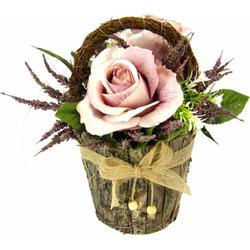 Kunstpflanze Gesteck Rosen in Rindentopf Rosen, I.GE.A., Höhe 25 cm