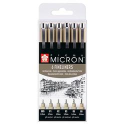 Sakura Pigma Micron Fineliner-Set schwarz 6 St.