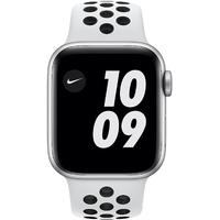 Apple Watch Series 6 Nike GPS + Cellular 40 mm Aluminiumgehäuse silber, Nike Sportarmband Pure platinum/schwarz