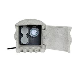 Energieverteiler Heitronic PIEDRA 2-fach mit Zeitschaltuhr IP44