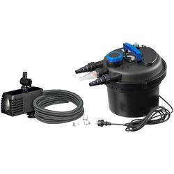 Ubbink Teichfilter Druckfilter BioPressure II 3000 Plus (Set), 3.000 l/h, inkl. UV-C Gerät und Teichpumpe