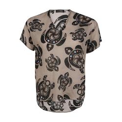 Bluse mit V-Ausschnitt Doris Streich sand