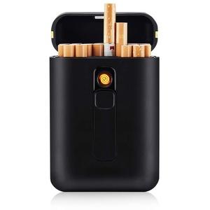 Zigarettenetui mit Feuerzeug Zigarettenschachtel für 20 Stück Normale Zigaretten King Size Zigaretten USB-Feuerzeug Wiederaufladbares Flammenloses Winddichtes Tragbares Elektrisches Feuerzeug