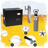 ich-zapfe Untertheken Komplett Set Zapfanlage, AS-40, 2-leitig, Durchlaufkühler, Nasskühler - Untertheke, inkl. Schanksäule, Green Line