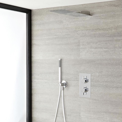Duschsystem inkl 430x200mm Kopfbrause, Handbrause & Twin Duscharmatur - Ecco