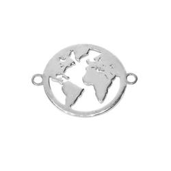 Adelia´s Kettenanhänger Weltkugel Zirkonia Anhänger 925 Silber
