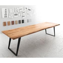 DELIFE Esstisch Edge 300x100 XL Akazie Natur Metall Schräg Live-Edge, Esstische, Baumkantenmöbel, Massivholzmöbel, Massivholz