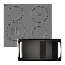 Kaiser Küchengeräte Induktions-Kochfeld KCT 6705 I inkl. Grillplatte, Design des Gusseisen-Kochfeldes, Einbau Herd, 4 Kochzonen, ohne Rahmen