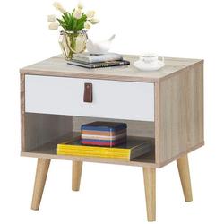 COSTWAY Nachttisch Nachttisch, mit Schublade und Regal braun 39 cm x 48,5 cm x 50 cm