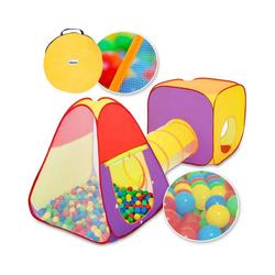 KIDUKU Spielzelt 3-teiliges Bällebad Spielzelt Babyzelt + Krabbeltunnel + 200 Bälle + Tasche für drinnen und draußen