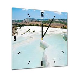 Bilderdepot24 Deco-Panel, Glasuhr - Sonne, Strand und Meer - Pamukkale - Türkei - 40x40cm