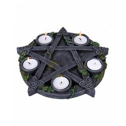 Horror-Shop Kerzenständer Okkulter Pentagramm Teelichthalter als Gothic Deko