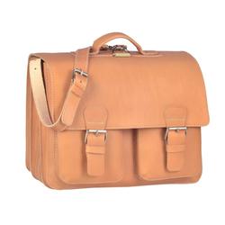 Ruitertassen Aktentasche Classic Satchel, 42 cm Lehrertasche mit 3 Fächern, auch als Rucksack zu tragen, dickes rustikales Leder beige