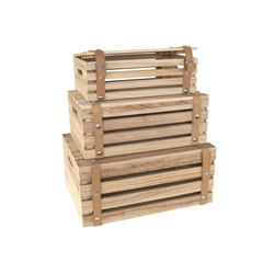 Holzkisten 3er Set mit PVC Riemen Deko Kisten in 3 Größen