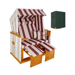 Strandkorb mit Polster, verstellbar, Variante 2 - Garten Strandkorb - rot/weiß