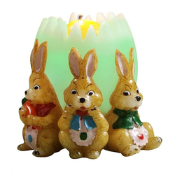 JOKA international LED-Kerze Regenbogenkerze Osterei mit 3 Hasen, Kerzenschein zu Ostern, Ø 14 x 14 cm, 12201, Farbwechsel Kerze