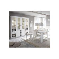 Lomadox Esszimmer-Set WINGST-61, (Spar-Set, 4-tlg), 2-tlg Esszimmer-Set im Landhaus-Stil Pinie weiß Nb. mit großem Buffet inkl. LED (ohne Stühle) Stellmaß Buffetschrank ca. 194 cm