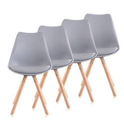 Makika Retro Stuhl Design-Stuhl - MOOL 4er Set in Grau