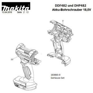 Makita Original Gehäuse-Set für Akku-Schrauber DDF/DHP482 183B65-0 183B650