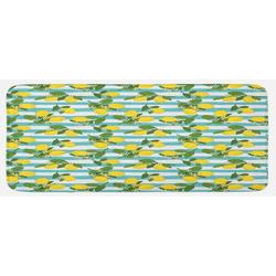 Küchenläufer Plüsch Dekorative Küchenmatte mit rutschfester Rückseite, Abakuhaus, rechteckig, Zitronen Zitronenblüten Blätter Kunst