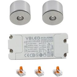 VBLED LED Aufbaustrahler 3W LED Mini Einbaustrahler / Mini Spot / Decken-Aufbau-Spot - Alu, IP65, 3000K