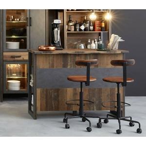 Bar Theke Hausbar Used Wood Vintage grau Tresen Stehtisch Bartisch 140 cm Prime