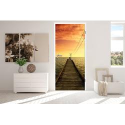 Bilderdepot24 Deco-Panel, Türaufkleber - Steg roter Himmel