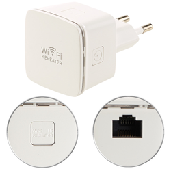 Mini-WLAN-Repeater WLR-350.sm mit Access-Point & WPS-Knopf, 300 Mbit/s