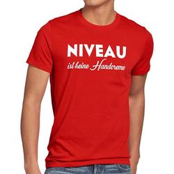 style3 Print-Shirt Herren T-Shirt Niveau ist keine Handcreme Creme Funshirt Spruch nivea fun lustig rot 4XL