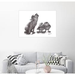 Posterlounge Wandbild, heulender Wolf trifft heulende Eulen 130 cm x 100 cm