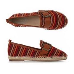 PANAME Damen-Espadrille Textil bunt gestreift Deko-Schnalle