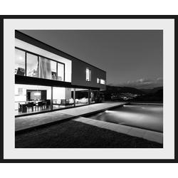 Places of Style Bild Villa mit Pool, mit Rahmen 60 cm x 50 cm x 2,4 cm
