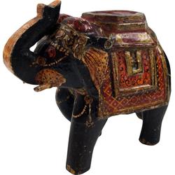 Guru-Shop Dekofigur Deko Elefant aus Indien, bemalte, indischer.. schwarz