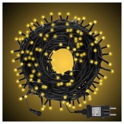 interGo LED-Lichterkette Lichtervorhang lichternetz LED-Leuchtermittel Weihnachtsbeleuchtung Weihnachstsdeko, 200-flammig natur 20 m