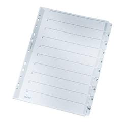 Leitz 4324 Register DIN A4 1-10 Karton Grau 10 Registerblätter 43240000