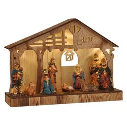 dynamic24 Krippe, Holz LED Weihnachtskrippe Krippenstall Weihnachten Krippe Figur Tischkrippe