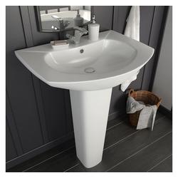 vidaXL Waschbecken vidaXL Freistehendes Waschbecken mit Säule Keramik Weiß 650x520x200 mm