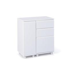 ebuy24 Schreibtisch Lapo Schreibtisch ausziehbare Tischplatte, 3 Schub wei�
