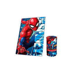 Kinderdecke Spider-Man Fleece-Decke, 150x100cm, Spiderman rot