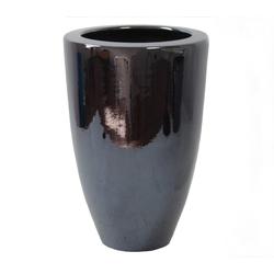 Dehner Übertopf Vase, konisch, glasierte Keramik schwarz Ø 24,5 cm x 30,5 cm