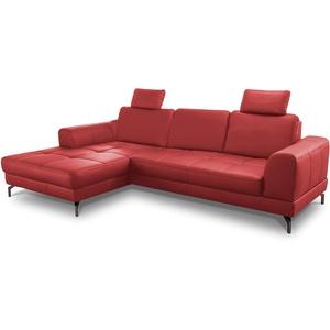 CAVADORE Ledergarnitur Benda / Großes Ecksofa mit XL-Longchair links & Federkern / Inkl. Sitztiefenverstellung & Kopfstützen / 284 x 87 x 175 / Echtleder: Rot