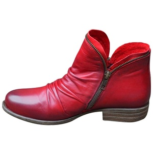 Celucke Stiefeletten Damen Ankle-Boots Flach Spitze Stiefel Kurzstiefel mit Reissverschluss, Frauen Wildleder Schuhe Bequem Damenschuhe Mode Elegant Halbstiefel (Rot, 38EU)