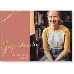 Einladungskarten Jugendweihe (10 Karten) selbst gestalten, Goldene Jugendweihe in Pink - Pink