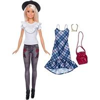 Barbie Fashionistas mit schwarzem Hut und blauem Karo - Kleid (FJF68)